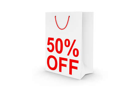 50 off: Fifty Percent Off Sale - White 50% Off Paper Shopping Bag Isolated on White