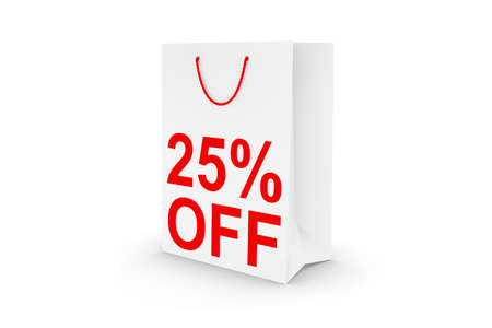 white paper bag: Twenty Five Percent Off Sale - White 25% Off Paper Shopping Bag Isolated on White Stock Photo