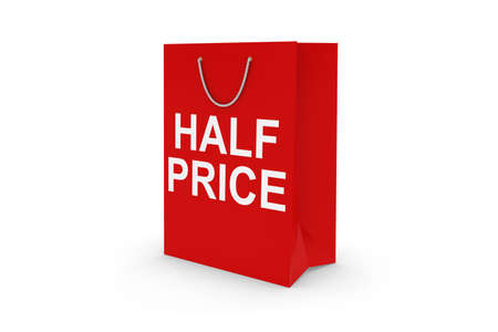 half price: Red HALF PRICE Paper Shopping Bag Isolated on White Stock Photo