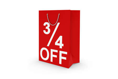 34: Three Quarters Off Sale - Red 34 OFF Paper Shopping Bag Isolated on White