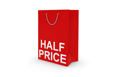 white paper bag: Red HALF PRICE Paper Shopping Bag Isolated on White Stock Photo