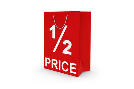 half price: Half Price Sale - Red 12 PRICE Paper Shopping Bag Isolated on White