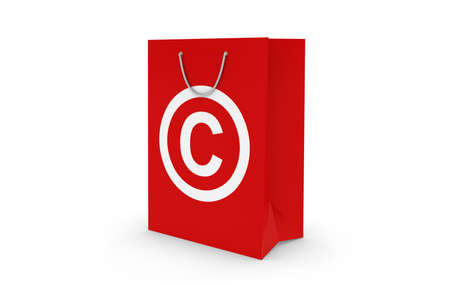 white paper bag: Red Copyright Symbol Paper Shopping Bag Isolated on White Stock Photo
