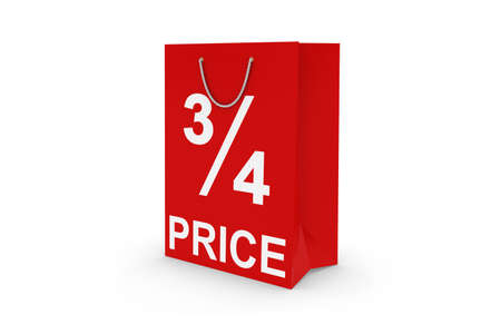 34: Three Quarters Price Sale - Red 34 PRICE Paper Shopping Bag Isolated on White