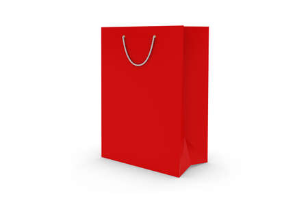 shopping store: Blank Red Paper Shopping Bag Isolated on White