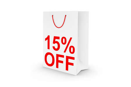 fifteen: Fifteen Percent Off Sale - White 15% Off Paper Shopping Bag Isolated on White Stock Photo