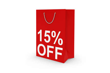fifteen: Fifteen Percent Off Sale - Red 15% OFF Paper Shopping Bag Isolated on White