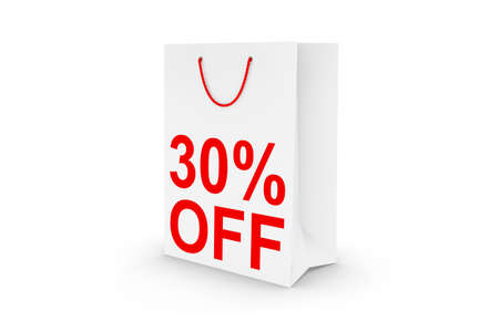 thirty percent off: Thirty Percent Off Sale - White 30% Off Paper Shopping Bag Isolated on White