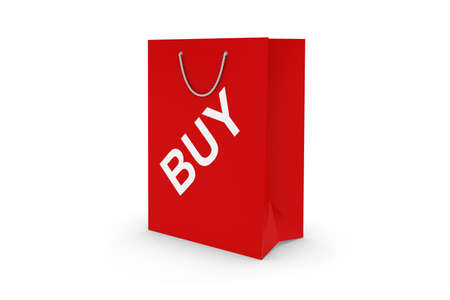 white paper bag: Red BUY Paper Shopping Bag Isolated on White Stock Photo