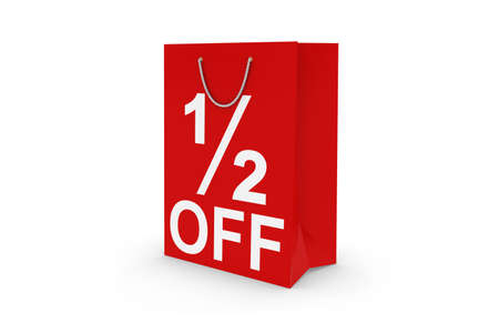 12: Half Off Sale - Red 12 OFF Paper Shopping Bag Isolated on White