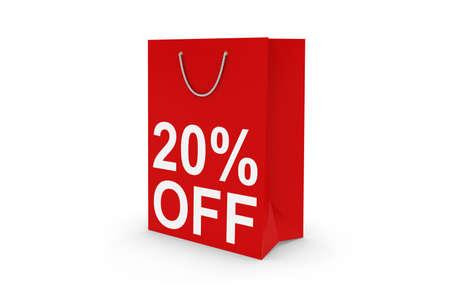 twenty: Twenty Percent Off Sale - Red 20% OFF Paper Shopping Bag Isolated on White Stock Photo
