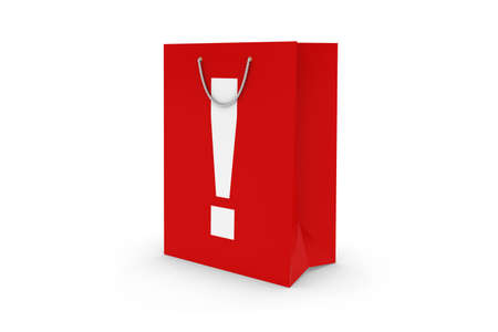 white paper bag: Red Exclamation Mark Symbol Paper Shopping Bag Isolated on White