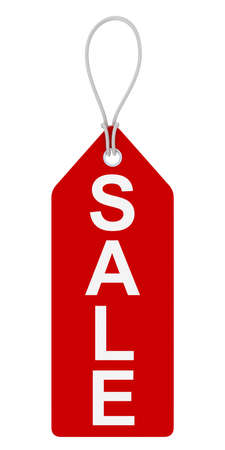 three dimensional   shape: Red SALE Hanging Tag Isolated on White