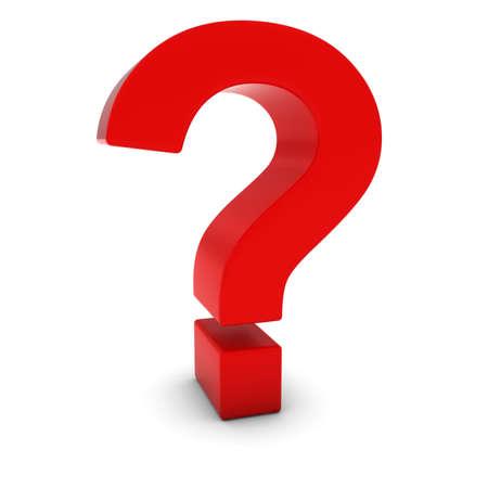 punto di domanda: Red 3D Punto interrogativo isolato su bianco con le ombre Archivio Fotografico