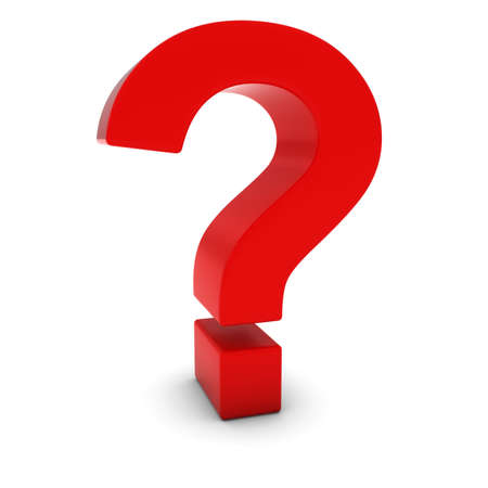 point d interrogation: Red 3D Question Mark isol� sur blanc avec des ombres