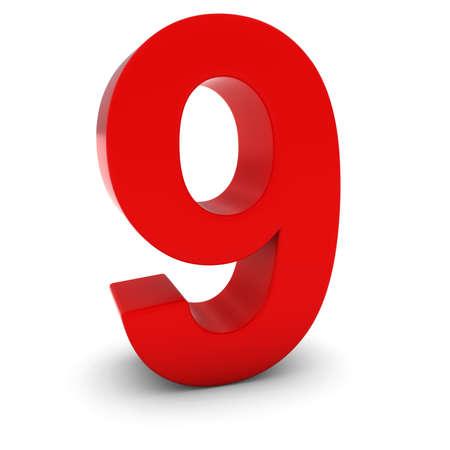numero nueve: Número rojo 3D Nueve Aislados en blanco con sombras