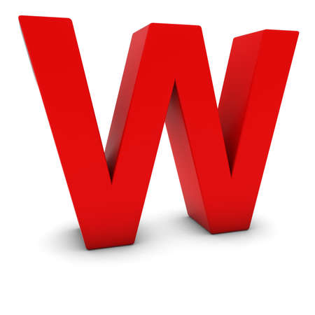 letter w: Red 3D Uppercase Letter W Isolated on white with shadows