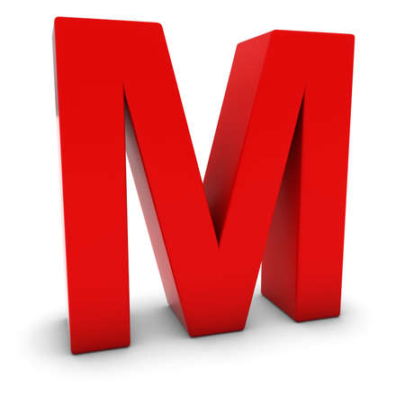 uppercase: Red 3D Uppercase Letter M Isolated on white with shadows