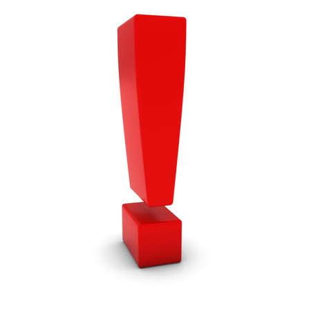 Red 3D Exclamation Mark isolé sur blanc avec des ombres Banque d'images