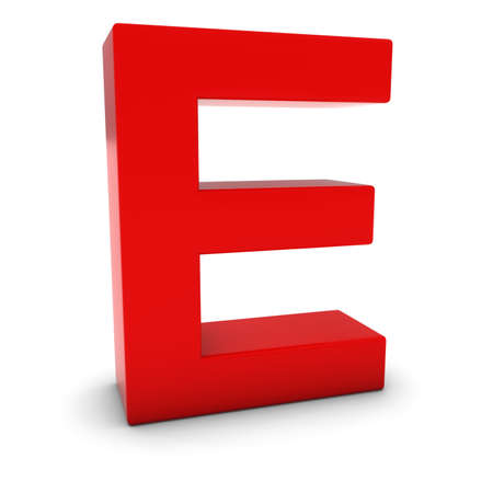 uppercase: Red 3D Uppercase Letter E Isolated on white with shadows