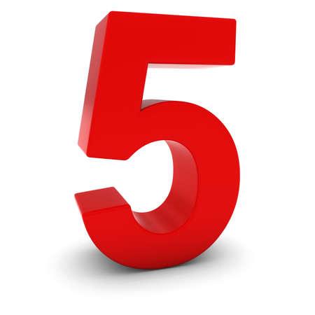 nombres: Rouge Nombre 3D Cinq isol� sur blanc avec ombres Banque d'images
