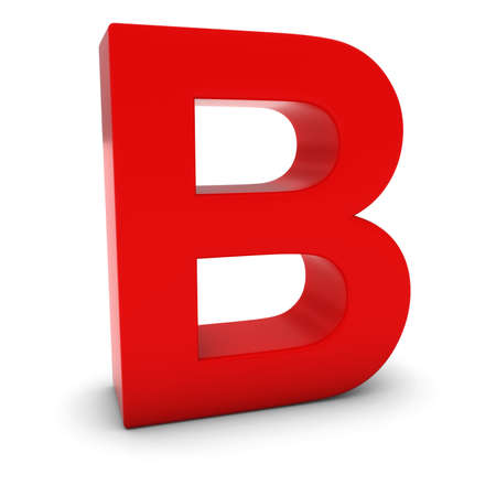 text 3d: Red 3D Uppercase Letter B Isolated on white with shadows