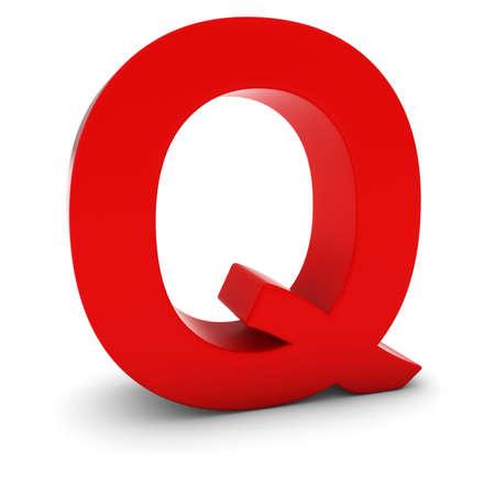 tipos de letras: Rojo 3D letra may�scula Q aislado en blanco con sombras