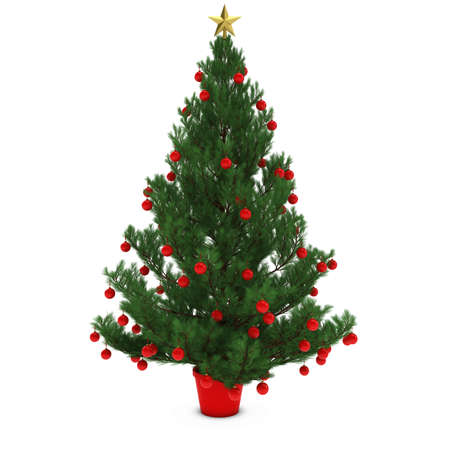 december 25th: Christmas Tree Decorated with Red Baubles Isolated on White Background