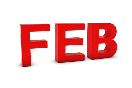 month 3d: FEB Red 3D Text - February Month Abbreviation on White Stock Photo