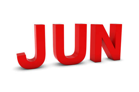 month 3d: JUN Red 3D Text - June Month Abbreviation on White Stock Photo