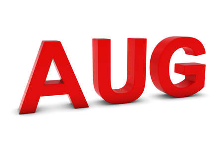 month 3d: AUG Red 3D Text - August Month Abbreviation on White