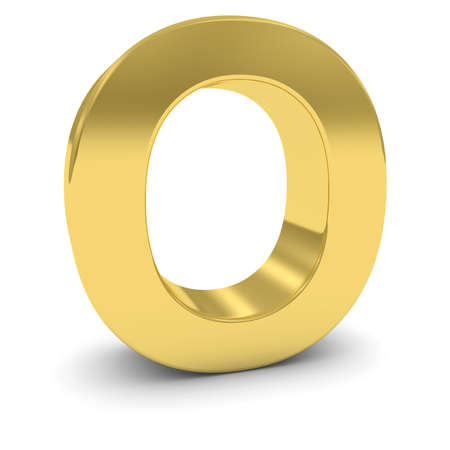 uppercase: Gold 3D Uppercase Letter O Isolated on white with shadows