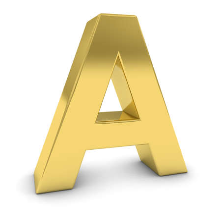 shadow: Gold 3D Uppercase Letter A Isolated on white with shadows