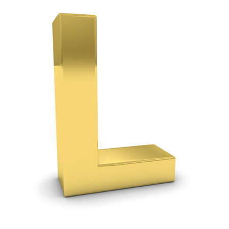 uppercase: Gold 3D Uppercase Letter L Isolated on white with shadows Stock Photo