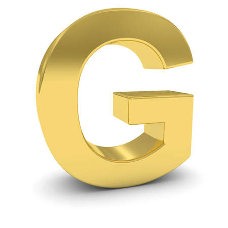 uppercase: Gold 3D Uppercase Letter G Isolated on white with shadows