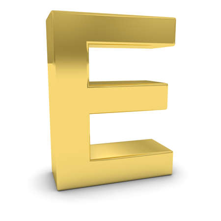 uppercase: Gold 3D Uppercase Letter E Isolated on white with shadows