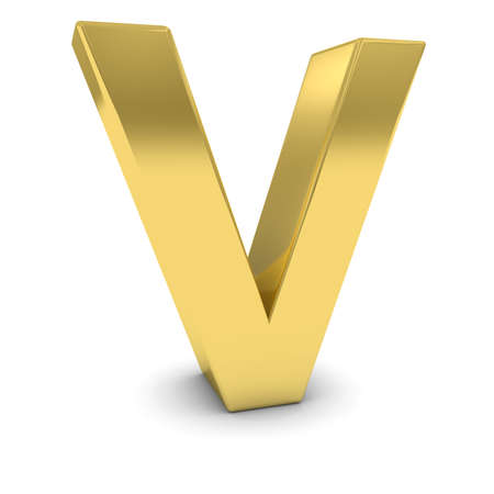 uppercase: Gold 3D Uppercase Letter V Isolated on white with shadows Stock Photo