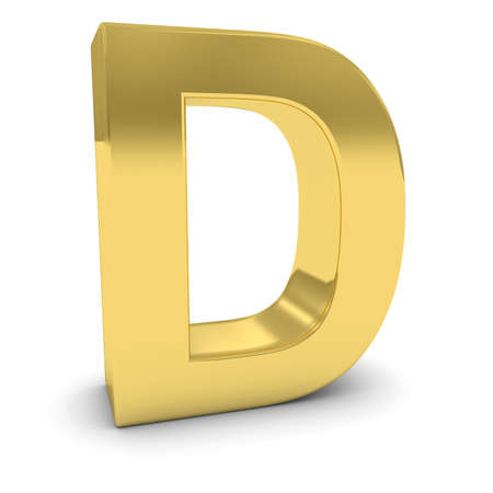 uppercase: Gold 3D Uppercase Letter D Isolated on white with shadows