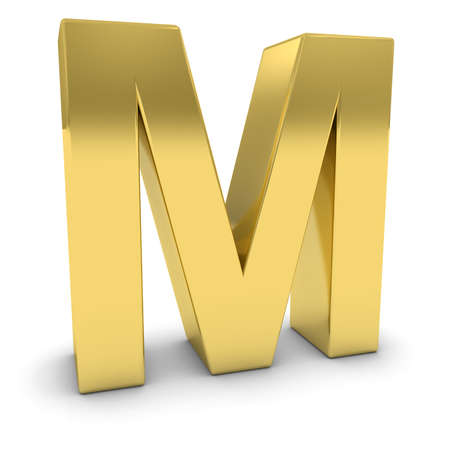 uppercase: Gold 3D Uppercase Letter M Isolated on white with shadows