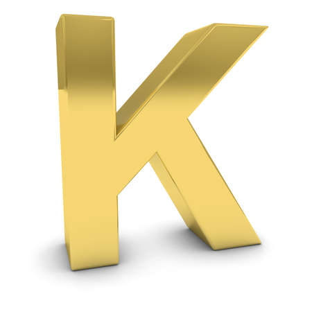 uppercase: Gold 3D Uppercase Letter K Isolated on white with shadows