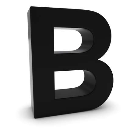 letter b: Black 3D Uppercase Letter B Isolated on white with shadows Stock Photo