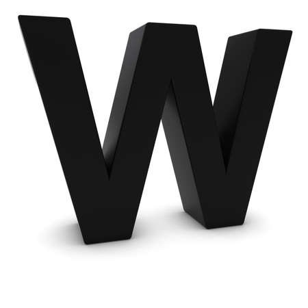 letter w: Black 3D Uppercase Letter W Isolated on white with shadows Stock Photo