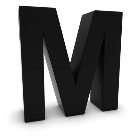 uppercase: Black 3D Uppercase Letter M Isolated on white with shadows