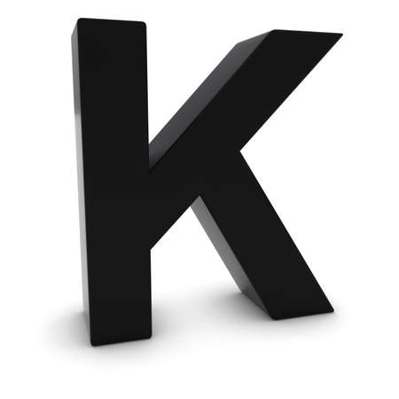 letter k: Black 3D Uppercase Letter K Isolated on white with shadows Stock Photo