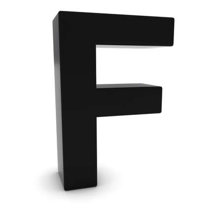 uppercase: Black 3D Uppercase Letter F Isolated on white with shadows