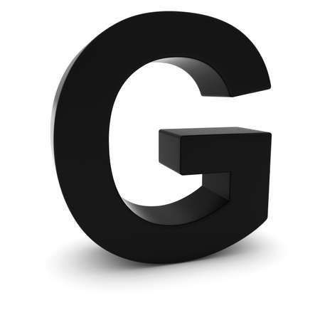 uppercase: Black 3D Uppercase Letter G Isolated on white with shadows