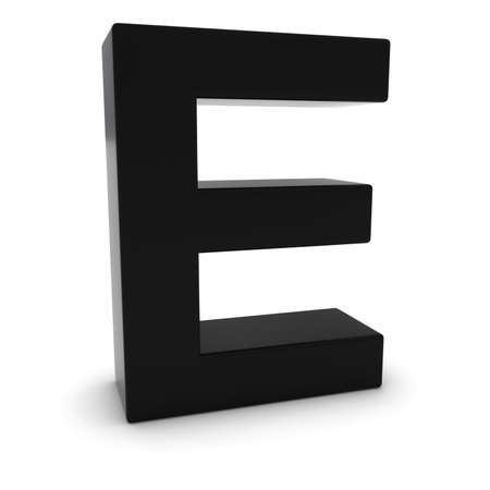 uppercase: Black 3D Uppercase Letter E Isolated on white with shadows
