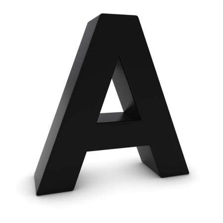 uppercase: Black 3D Uppercase Letter A Isolated on white with shadows