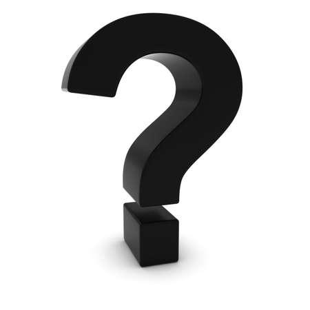 punto di domanda: Nero 3D Punto interrogativo isolato su bianco con le ombre Archivio Fotografico
