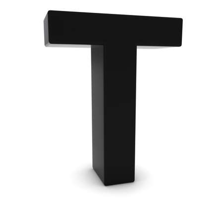 uppercase: Black 3D Uppercase Letter T Isolated on white with shadows